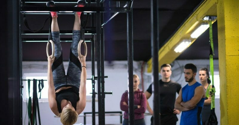 ring exercises in CrossFit box