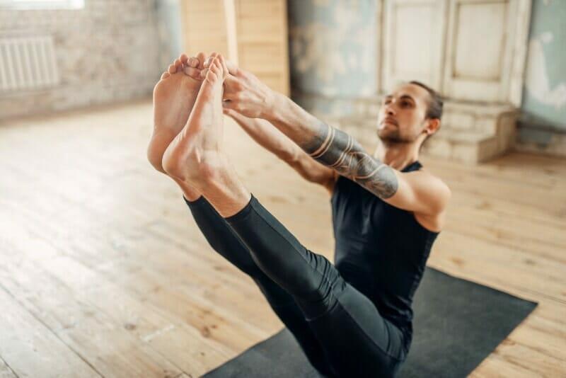 yoga v-up crunch pose for abdominals