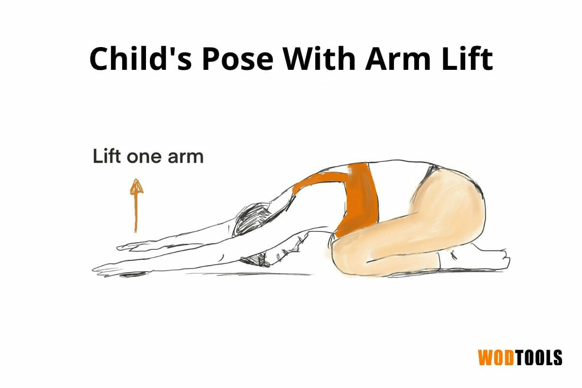 childs pose with arm lift